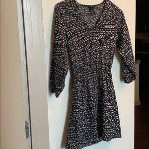 H&M quarter sleeve black and white dress